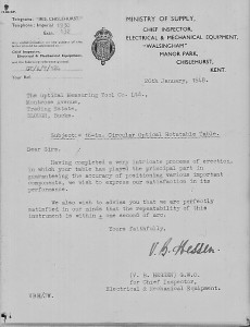 Letter from Ministry of Supply 1948